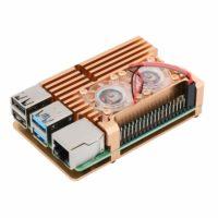 Support en ALU GOLD avec double ventilateur pour Pi4